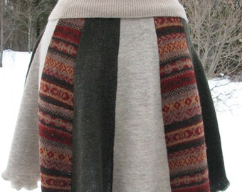 Wool Skirt - Repurposed Wool Skirt - Upcycled Wool skirt - Size S Wool Skirt