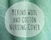 Nursing cover scarf. Mint green merino wool and cotton blend nursing cover with a hint of sparkle. Merino wool nursing scarf cover.