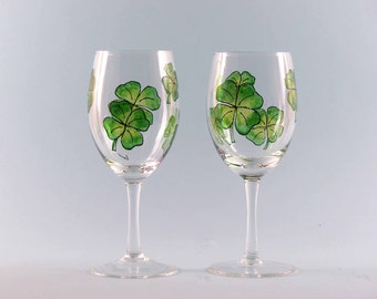 Irish Shamrock Wine Glasses - St. Patrick's Day Wine Glasses - Hand Painted - Irish Gifts