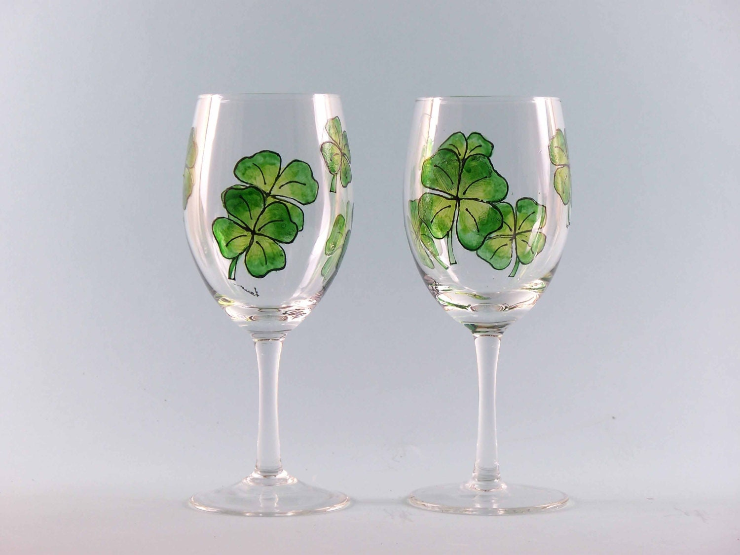 Hand Painted Shamrock Wine Glasses St Patrick 39 S Day