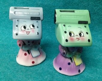 Salt and Pepper Shakers Adding Machine Pottery Made in Japan PY