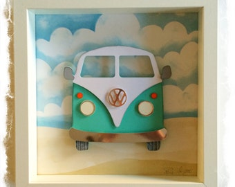 VW Camper Van / VW Bus Collage / 3D papercut Picture - Small Shadow box frame