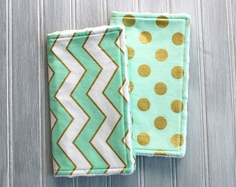 Gold and Mint Burp Cloth Set - Set of 2 Minky Burp Cloths - Mint Green with Metallic Gold Polka Dots Print and Mint, White and Gold Chevron