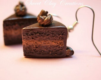 Triple Chocolate Cake Earrings Miniature Food Jewelry Polymer Clay Food Handmade Gift Girl Brown Sterling Silver