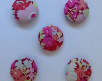 Liberty-covered buttons 5 pack