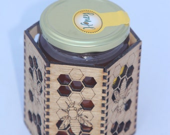 Cute hexagonal Bee Pot!  Golden honeycomb pot to hold your pens and pencils, or show off on the table with your honey!