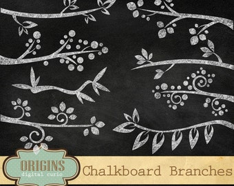 White Chalkboard Branches Clipart - PNG Chalk forest woodland Clip Art Instant Download commercial use