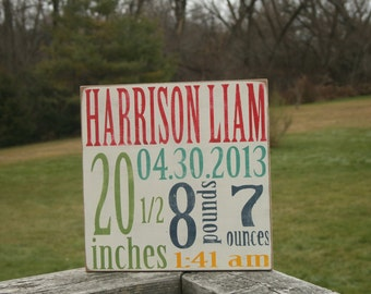 Wooden birth stat sign - wood sign - nursery art - customized baby sign - personalized gift - baby shower