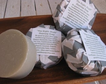 The Right Stuff Shaving Soap, Father's Day Gifts  Bentonite Clay, Essental Oil, Round Shaving Soap, Shaving Soap, Handcrafted, Natural Body