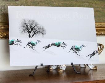 Whippet Winter Run Art (D)
