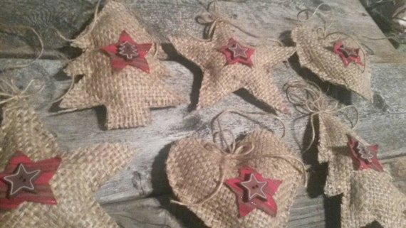 Fabulous Set Of 6 Hand Made Burlap Christmas Ornaments By Beachbungalowinc Easy Diy Christmas Decorations Tissureus