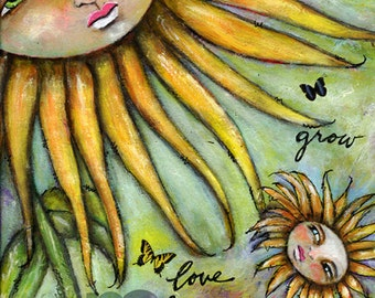 Mixed Media Whimsical Art Print - Sun Flower, Young Sun Flower, Whimsical Flower Faces, Inspirational Art Print, Matted Art Print, 8x10