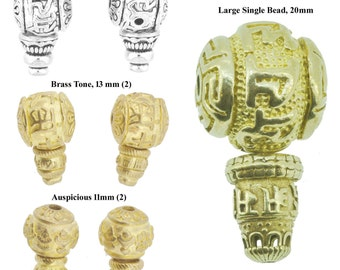 Set of Two Buddhist Symbol Guru Beads of Brass Alloy, Guru Beads for Prayer Beads Making