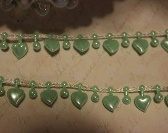 Mint Green Heart Pearl Trim