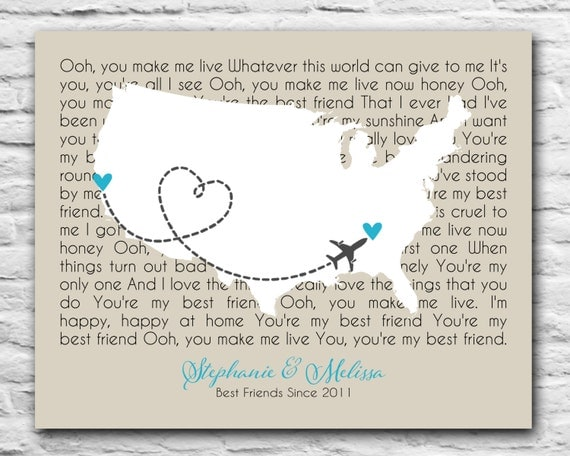 World US Map Long Distance Relationship Gift Personalized - Us map distance