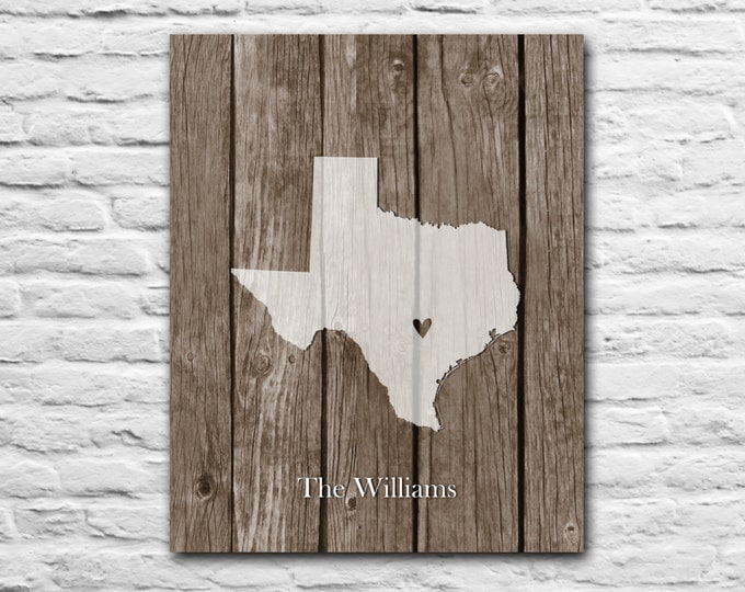ANY STATE - State Map Unique Custom Gift Family Name Friend For Parents Mother's Day Gift For Grandma Roots Texas Personalized Art Print
