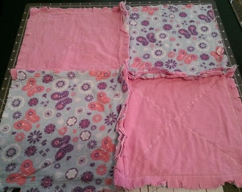 Butterfly and Soft Pink Security Rag Blanket