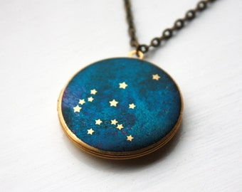 Aquarius Constellation illustrated brass locket, pendant, astrology, brass, zodiac, blue, handmade, stars, star sign, space