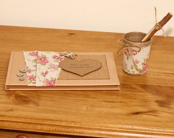 Personailised Rustic Wedding sign book and twig pen set vintage style