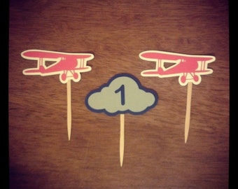 First In Flight Airplane Cupcake Toppers