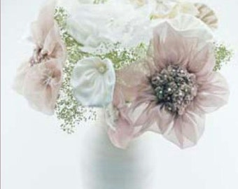 DIY Fabric Flower Wedding Bouquet, How to Make Bridal Bouquet, How to Fabric Flowers