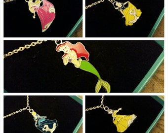 SALE Disney Princess Necklace, Disney Necklace, Snow White, Cinderella, Sleeping Beauty, Little Mermaid, Beauty and the Beast, Gift for Girl