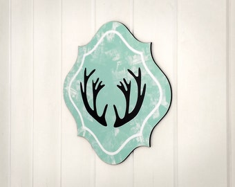 Antler Art / Deer Antler Decor / Antler Wall Art / Girl Room Decor / Kids Wall Decor / Baby Room Art / Boy Wall Art / Mint Aqua Wall Decor