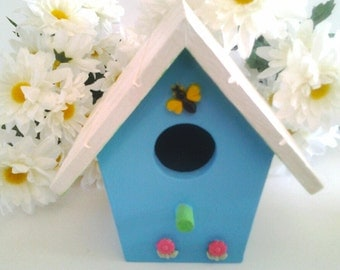 decorative birdhouse, hand painted, shabby chic, cottage style, farmhouse chic