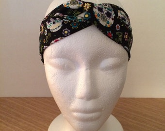 Twisted Headband Day of the Dead Sugar Skull Pattern