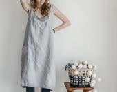 Pinafore / Square cross linen apron /japanese style apron. Washed long linen apron in ice blue/silver grey.