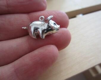 Sterling silver piggy bank charm, bank charm, silver jewellery, silver charm bracelet charm