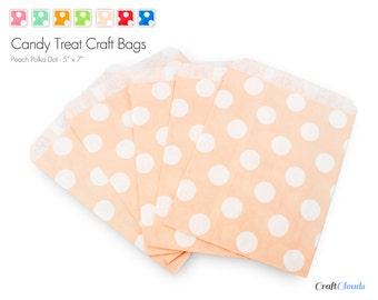 "25 Peach Polka Dot Style Candy Treat Craft Bags - 5"" x 7"""