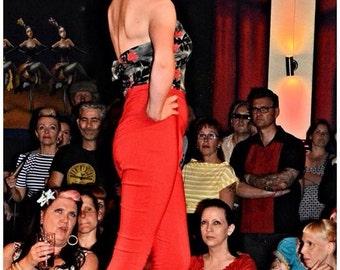 Red Vintage Inspired High Waist Capri Pants