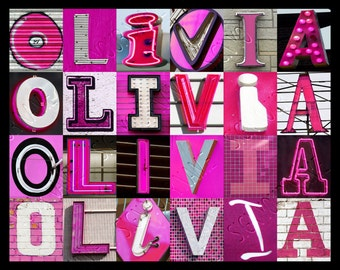 Personalized Poster featuring OLIVIA (Pink) showcased in photos of sign letters; Typography print; Wall decor; Custom wall art; Name poster