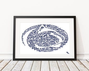 Nittany Lion Typography, Custom Wall Poster, Digital Wall Print
