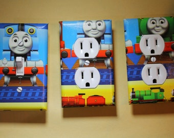 Thomas the Tank Engine Train 3 piece Light Switch Plate and Socket Cover set girls boys childs room home decor Percy James