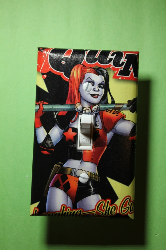 Harley quinn joker batman light switch plate by comicrecycled for Harley quinn bedroom designs