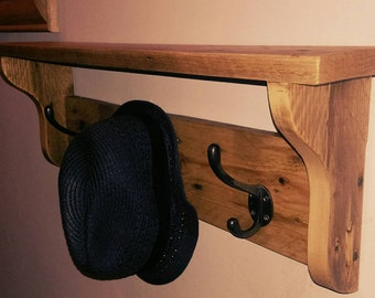 Large rustic coat hook rack with shelf
