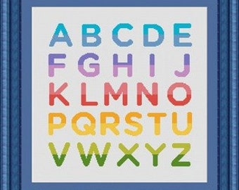 RAINBOW ALPHABET/  -Counted cross stitch pattern /grille point de croix  ,Cross Stitch PDF, Instant download , free shipping