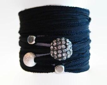 Black and Silver Silk Wrap Bracelet
