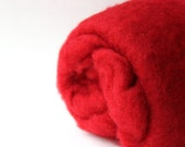 Needle felting wool, 1 oz, fire - bright red.  Maori wool blend of coopworth and corriedale.