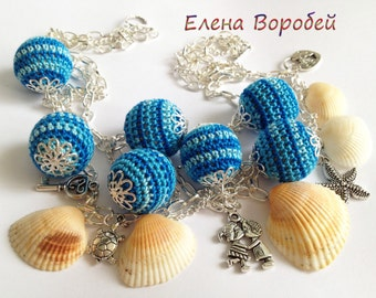 """Crochet Neclace """"Sea""""/ Handmade Crochet Neclace / Blue Crochet Bead Neclace/ Crochet Wooden Neclace/ Chain Neclace/ Sea Neclace"""