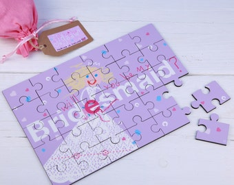 Bridesmaid Wedding  jigsaw Wooden Secret message Illustrated Brides Maid Will You Be