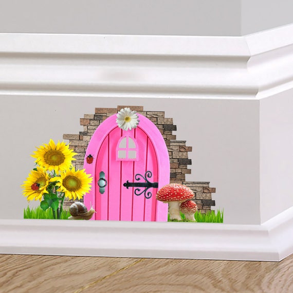 Pink fairy cottage door wall decal sticker mural skirting for Fairy door wall art