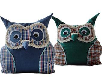 Stuffed Owl Pillow - Green and Blue Owl Pillow - Decorative linen pillows - Throw pillow - Owl toy - Kids room decor