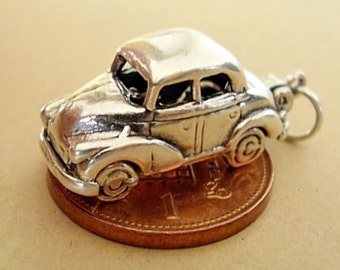 Sterling Silver Morris Minor - Driver Opening Car Charm