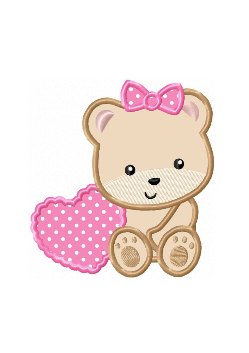 Applique machine embroidery design no baby girl bear