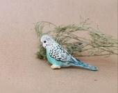 Budgie brooch Budgerigar jewelry Blue parakeet Miniature parrot brooch  Polymer clay brooch