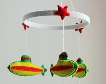 Submarine and Whale Baby Mobile, Hanging Baby Mobile for Nursery, Nautical Baby Mobile READY TO SHIP