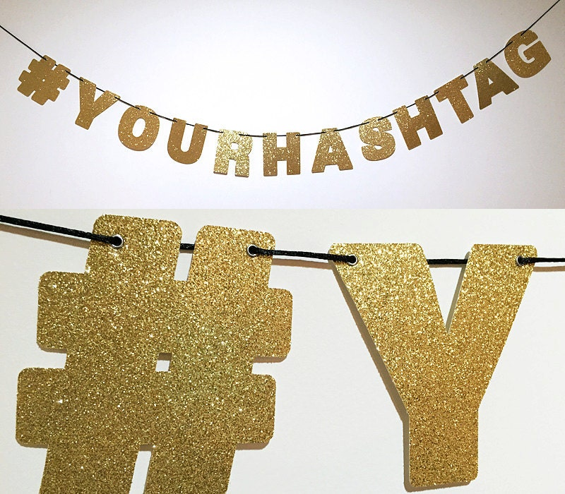 Wall Decorations For Engagement Party : Custom your hashtag glitter banner sign wall decor